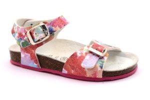 GRUNLAND DEHA SB0270 70 FUXIA FANTASIA sandali bambina sughero fibbie glitter stampa fiori