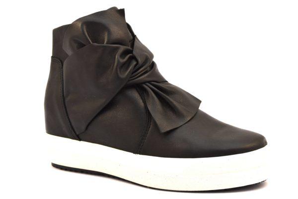 IGIeCO 2156700 NERO Sneakers Alte Scarpe Polacco Zeppa Interna Invernale Donna Stivalino Stivale Tacchi autunno inverno 2018 19 fiocco