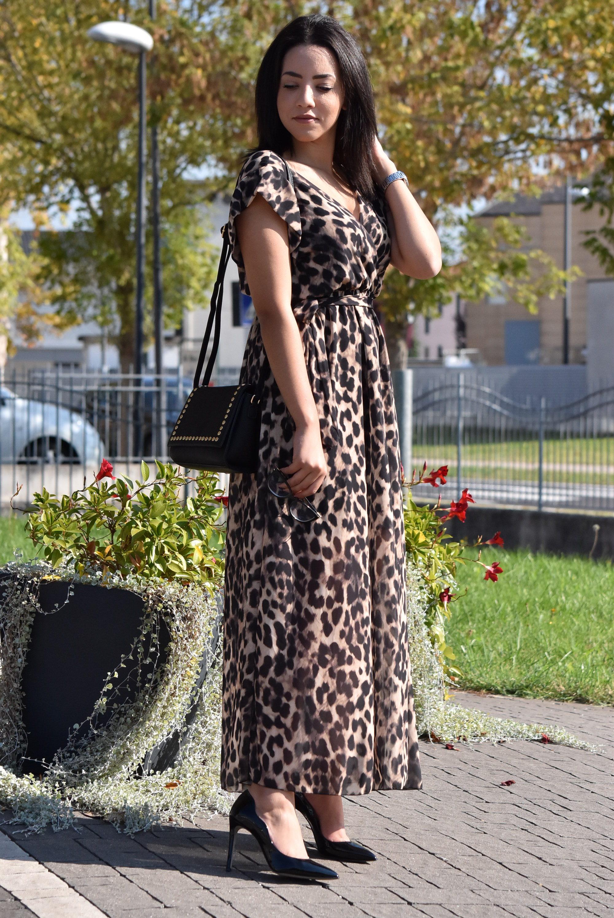 Abito lungo maculato animalier decollete Divine Follie Vernice Nera shoesmyfriends Outfit Collezione autunno inverno 2018 19