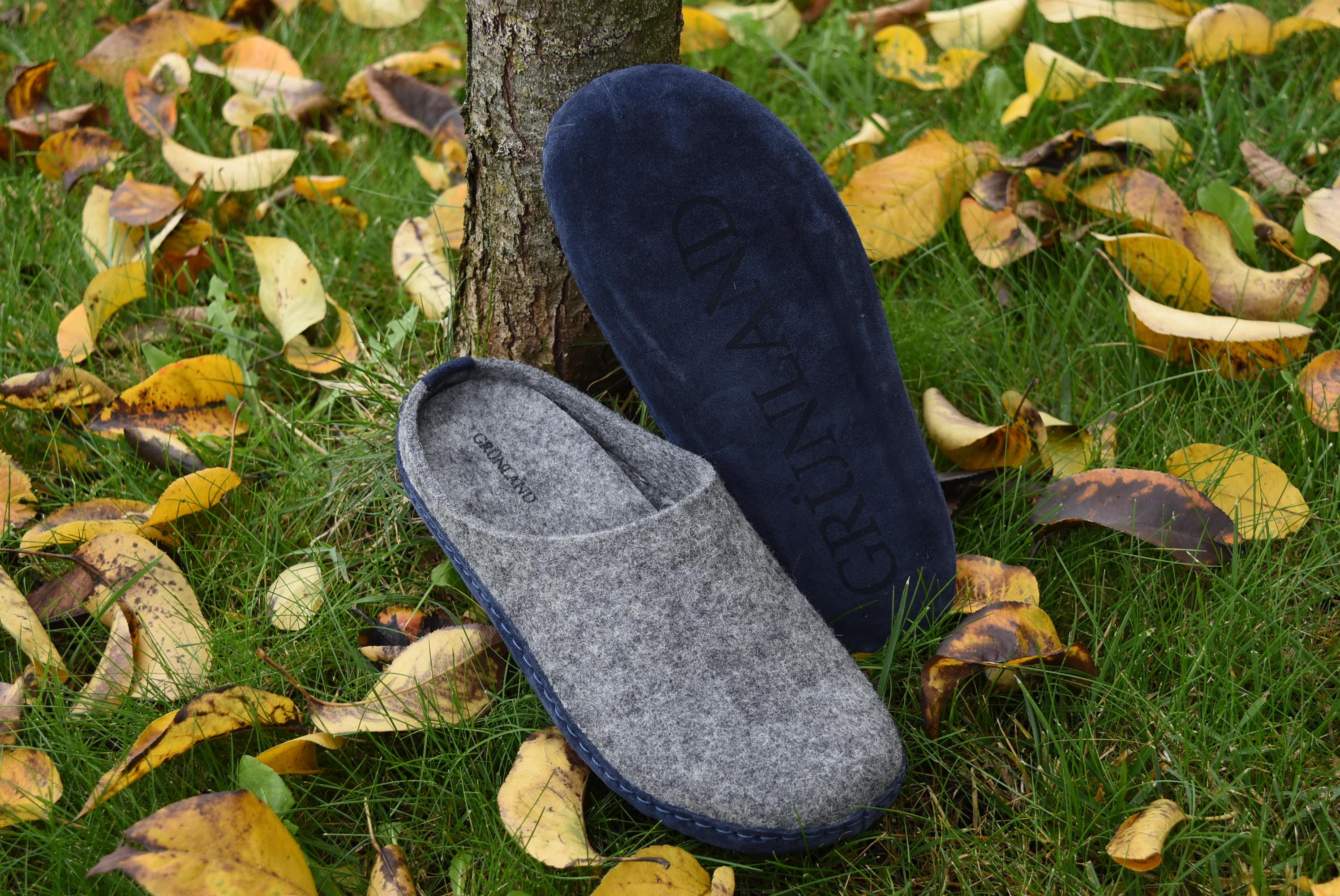 GRUNLAND APAC CI1397 A6 GRIGIO BLU Ciabatte Pantofole Tirolesi Uomo Lana Cotta collezione autunno inverno 2018 19