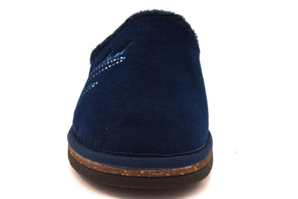 GRUNLAND DOLA CI1722 G7 BLU blu ciabatte invernali donna panno zeppa strass calde ciabatta velluto