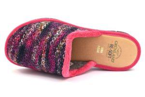 GRUNLAND DOLA CI1726 G7 FUXIA viola rosa lana ciabatte invernali donna panno zeppa calde ciabatta velluto