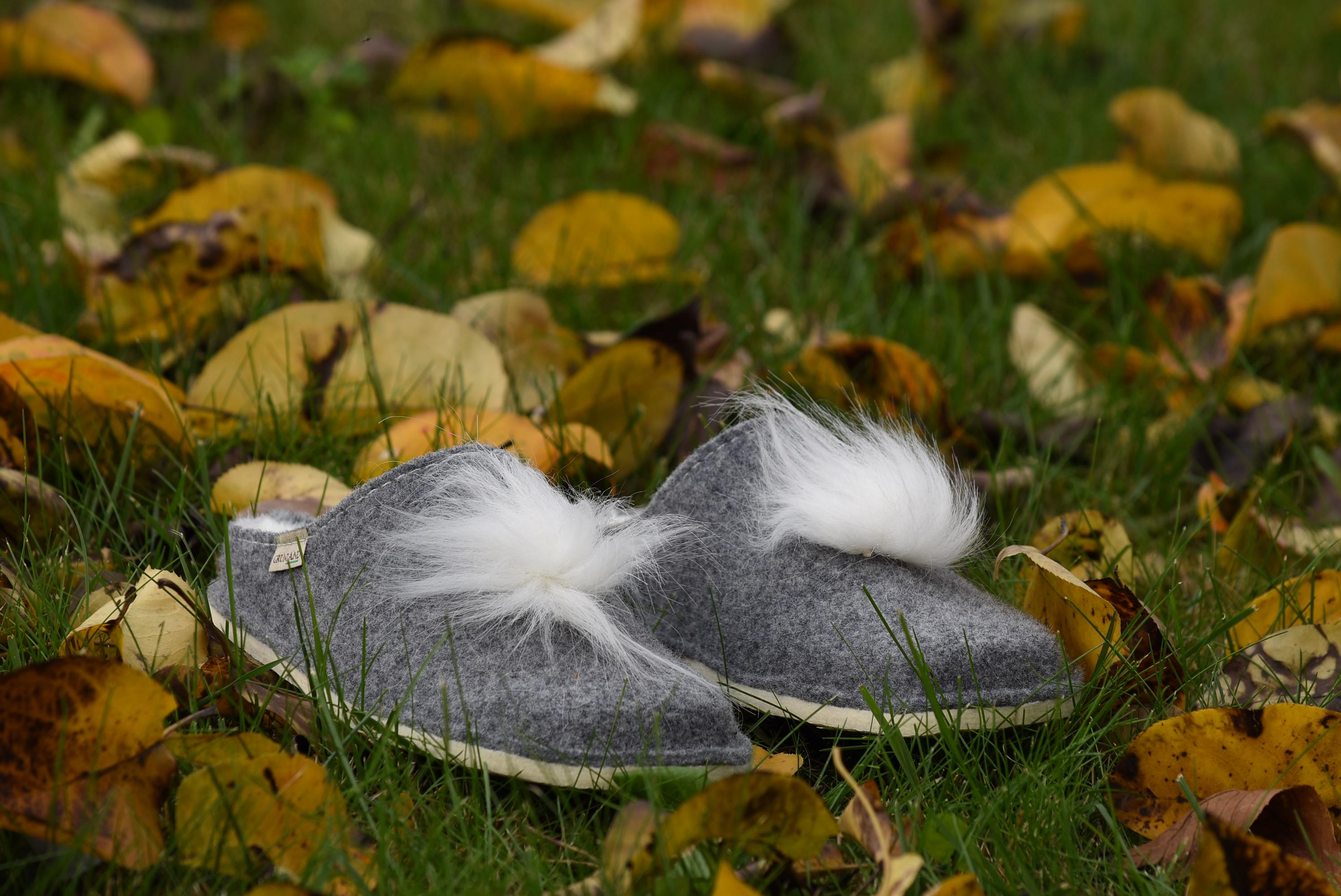 GRUNLAND GAUR CI2276 44 GRIGIO Feltro Pelo Lana Ciabatte Pantofole DonnaTirolesi collezione autunno inverno 2018 19