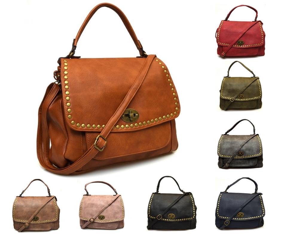 Hand Bag 192 modello postino borsa a mano con tracolla con borchie in ecopelle. Collezione autunno inverno primavera estate