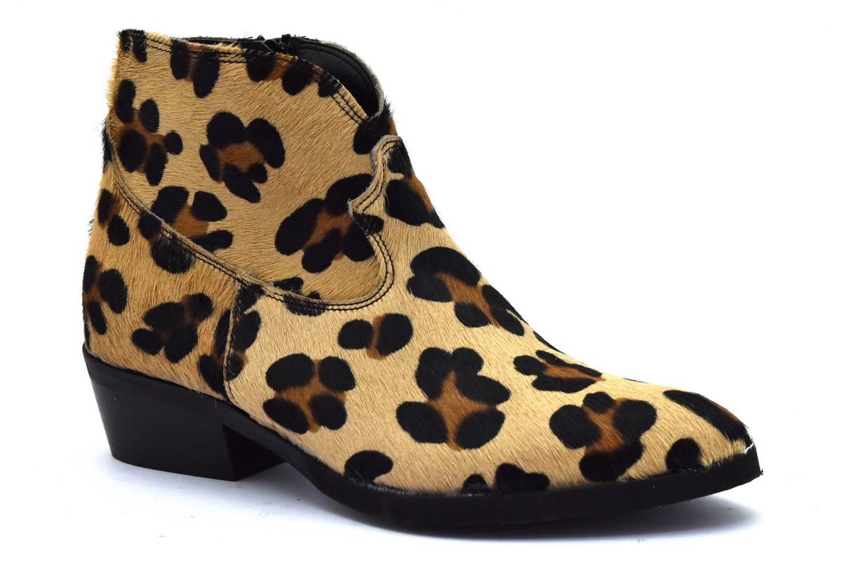 DIVINE FOLLIE 4313 MARRONE NERO stivaletto maculato leopardato animalier tacco basso in cavallino texano in vera pelle collezione autunno inverno