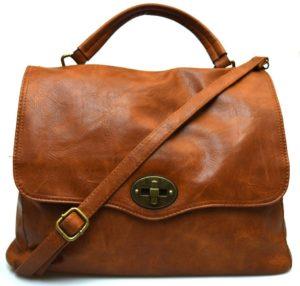 Hand Bag 2420 Brown Cuoio New Borsa a mano postino sacca tracolla manico cartella shopping collezione autunno inverno primavera estate ecopelle