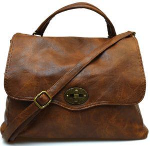 Hand Bag 2420 D Brown Cuoio scuro Borsa a mano postino sacca tracolla manico cartella shopping collezione autunno inverno primavera estate ecopelle
