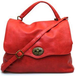 Hand Bag 2420 Red Rosso Corallo Borsa a mano postino sacca tracolla manico cartella shopping collezione autunno inverno primavera estate ecopelle