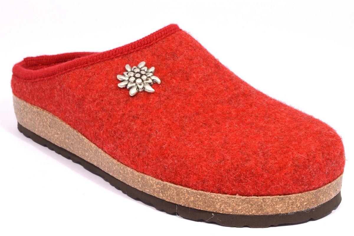 bio alpes 977 ribes rosso ciabatte tirolesi in pura lana cotta merinos made in italy collezione autunno inverno donna
