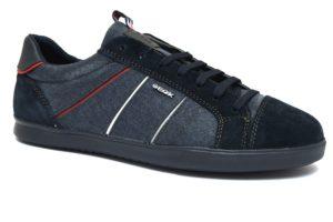 GEOX U922CB ONB22 C4002 WALEE BLU scarpe sneakers uomo primavera estate vera pelle camoscio