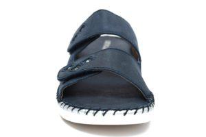 GRUNLAND BICO CI1783 30 BLU ciabatte pantofole donna estive sottopiede in vera pelle chiusura a strappo zeppa