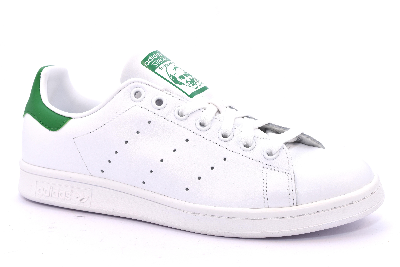 new style 6a5b9 fbc4b ADIDAS M20324 STAN SMITH BIANCO VERDE Scarpe Sneaker Pelle Stringate Uomo  Lacci