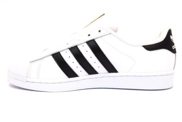 ADIDAS SUPERSTAR C77124 BIANCO NERO scarpe sneakers unisex vera pelle