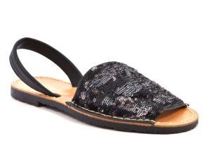 CAFE NOIR MEC920 659 EC920 NERO ARGENTO scarpe sandali bassi fascianti donna minorchine paillettes