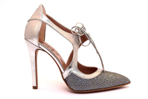 DIVINE FOLLIE 34100 ARGENTO 100 scarpe tacchi punta sfilata décolleté donna glitter lacci primaverile estiva