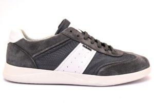 Dettagli su GEOX U926FA 02214 C0579 KENNET GRIGIO Scarpe Sneaker Pelle Tessuto Lacci Uomo