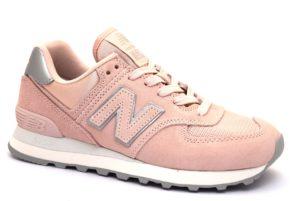NEW BALANCE WL574OPS ROSA Argento Scarpe Sneaker Donna Stringate Vera pelle