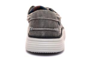 SKECHERS 65908 LTGY GRIGIO Sneakers Stringata Sportiva Mocassino Lacci Scarpe Pelle Uomo Primaverili collezione primavera estate