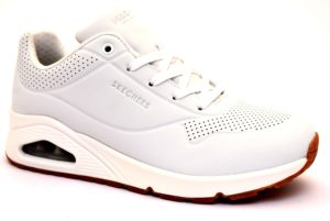 SKECHERS 73690 WHT BIANCO Scarpe Sneaker Donna Stringata Memory Foam Air Cooled