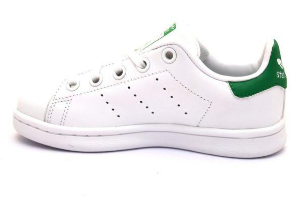 adidas ba8375 stan smith bianco verde scarpe sneaker bambino bambina pelle lacci stringata sport scarpe da ginnastica