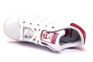 adidas ba8377 stan smith bianco rosa fucsia scarpe sneaker bambina pelle lacci stringata sport scarpe da ginnastica