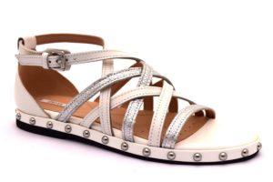 geox d925sb 043ky c0007 bianco argento sandalo pelle borchie cinturino