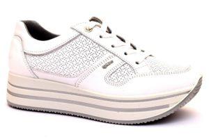 igieco 3160611 bianco scarpe sneaker in vera pelle donna con plantare anatomico estraibile stringata traforata