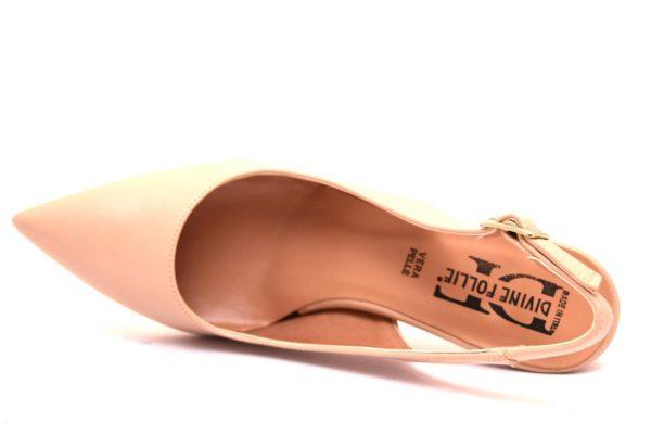 divine follie 4208 nude sandali donna tacco medio vera pelle sera cerimonia punta sfilata