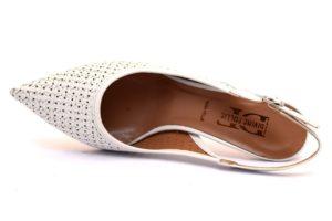 divine follie 503202 bianco sandali donna cinturino punta sfilata tacco medio traforato dècollettè