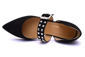 divine follie 577300 nero ballerine cinturino borchie scamosciate punta sflata tempo libero vera pelle