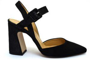 divine follie 630pe nero sandalo aperto tacco donna cinturino brillantini punta sfilata