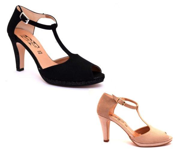 divine follie 9922 cipria nero sandalo scarpe donna vera pelle scamosciato