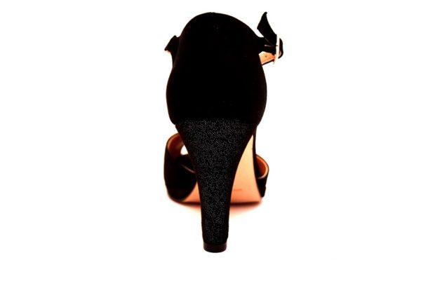 divine follie 9922 nero dècollettè donna cinturino strass scamosciato scafpe cerimonie sera