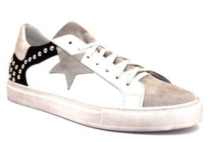 divine follie jenny 26 u bianco grigio sneaker uomo vera pelle stringate scamosciate borchie