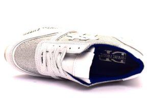 divine follie prd bianco argento sneaker donna scarpe glitter vera pelle plantare estraibile lacci zeppa stampa