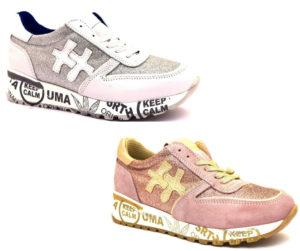 divine follie prd rosa oro bianco argento sneaker donna scarpe glitter vera pelle plantare estraibile lacci zeppa stampa