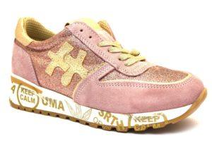 divine follie prd rosa oro sneaker donna scarpe glitter vera pelle plantare estraibile lacci zeppa stampa
