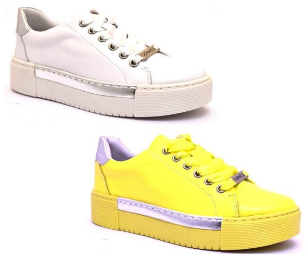 cafènoir idd121 1958 203 bianco giallo dd121 argento sneaker scarpe donna stringate lacci vera pelle scarpe estive primavera