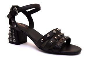 geox d92dua 00043c9999 d seyla nero sandali donna borchie tacco medio cinturino vera pelle