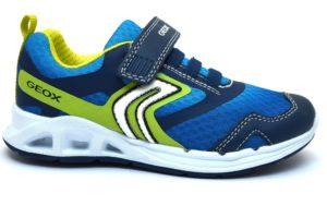 geox j929fa 01454 j dakin blu sneaker bambino luci verde fluo tempo libero strappo