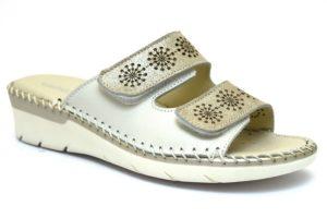 grunland bico ci2035 10 beige bianco ciabatte donna vera pelle strappi zeppa
