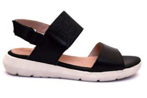 grunland clou sa1884-l1 nero sandali strappi brillantini vera pelle sottopiede re soft zeppa cinturinio