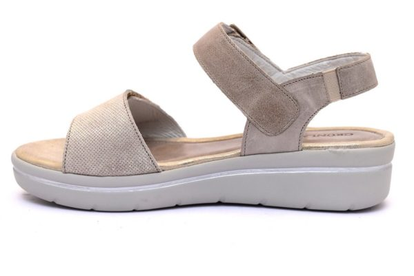 grunland life sa1875 30 taupe sandali donna vera pelle cinturino strappo zeppa