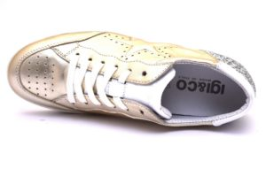 igieco 3153933 platino laminato oro scarpe sneaker donna vera pelle stringate