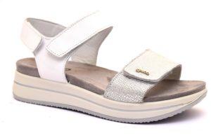 igieco 3169511 bianco argento sandali donna strappo vera pelle sottopiede anatomico scamosciato sandalo estivo