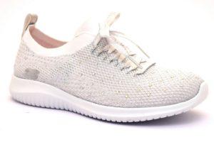 skechers 13099 wsl bianco sneaker donna sport palestra estive primavera strass lacci slipon