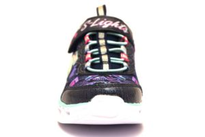 skechers 20180l nvmt jesns sneaker scarpe bambina luci strapi cuori stampe Argento fucsia Viola