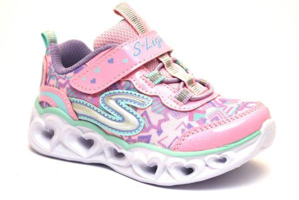 skechers 20180n llpmt rosa sneaker bambina scarpe luci estive sport palestra strappi luci