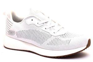 skechers 31347 wht bianco sneaker donna tempo libero lacci brillantini sottopiede memory foam