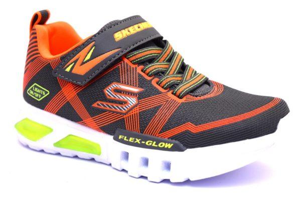 skechers 90542l ccor grigio arancione sneaker bambino scarpe luci strappi palestra